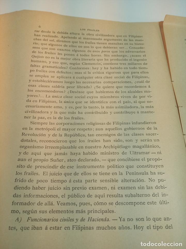 Libros antiguos: Los frailes filipinos por un español que ha residido en aquel país. Madrid. 1898. Imp. Viueda de - Foto 4 - 198483491