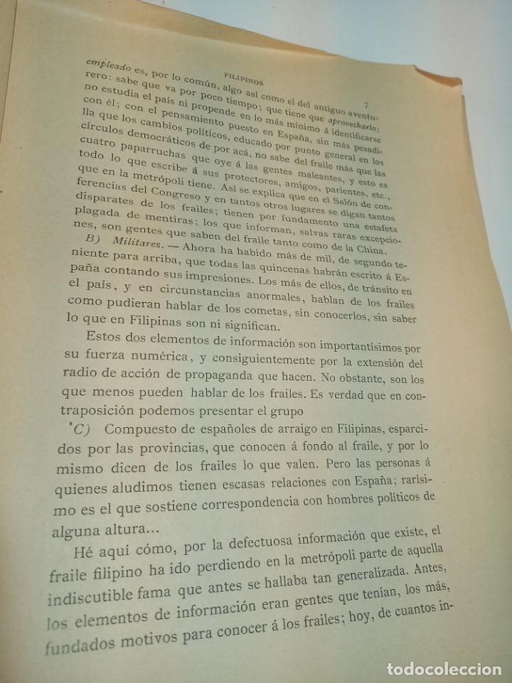 Libros antiguos: Los frailes filipinos por un español que ha residido en aquel país. Madrid. 1898. Imp. Viueda de - Foto 5 - 198483491