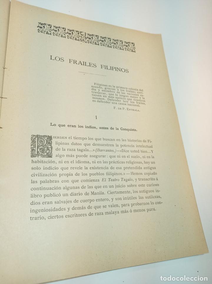 Libros antiguos: Los frailes filipinos por un español que ha residido en aquel país. Madrid. 1898. Imp. Viueda de - Foto 6 - 198483491