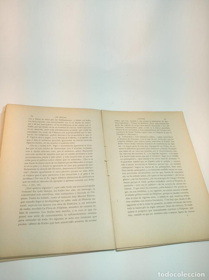 Libros antiguos: Los frailes filipinos por un español que ha residido en aquel país. Madrid. 1898. Imp. Viueda de - Foto 7 - 198483491