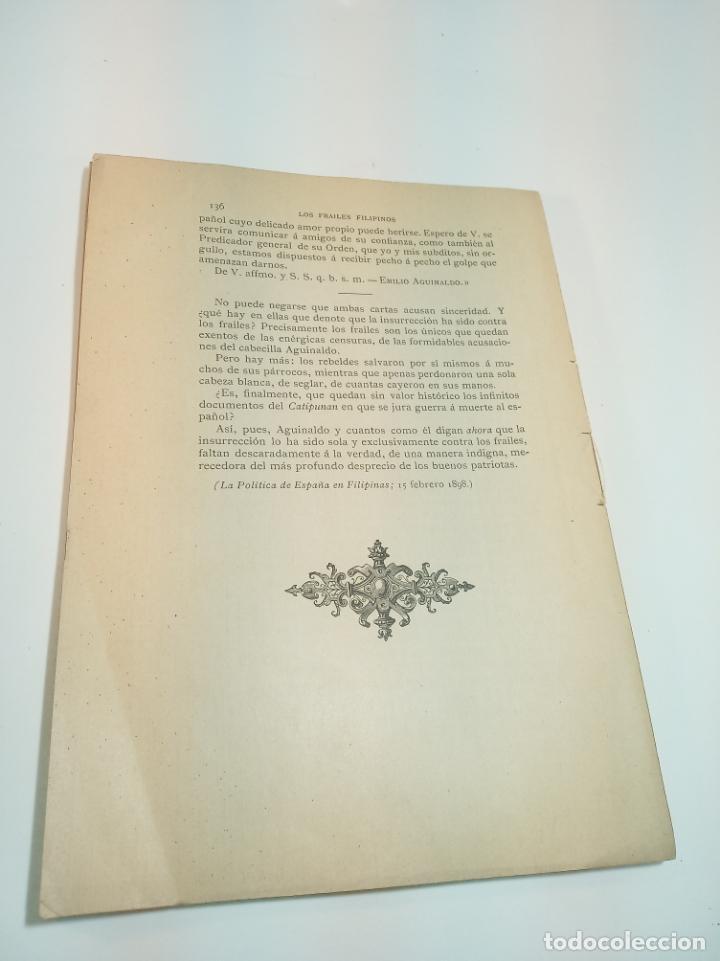 Libros antiguos: Los frailes filipinos por un español que ha residido en aquel país. Madrid. 1898. Imp. Viueda de - Foto 8 - 198483491
