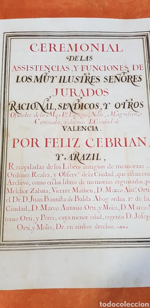 Libros antiguos: CEREMONIAL DE LAS ASSISTENCIAS Y FUNCIONES VALENCIA,FACSIMIL. - Foto 5 - 201485433