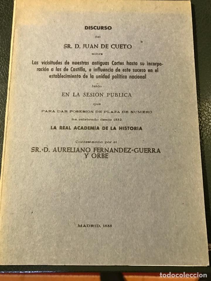 DISCURSOS SOBRE LAS CORTES DE CASTILLA POR JUAN DE CUETO 1858 (Libros antiguos (hasta 1936), raros y curiosos - Historia Moderna)