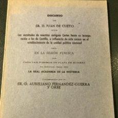 Libros antiguos: DISCURSOS SOBRE LAS CORTES DE CASTILLA POR JUAN DE CUETO 1858. Lote 203551837