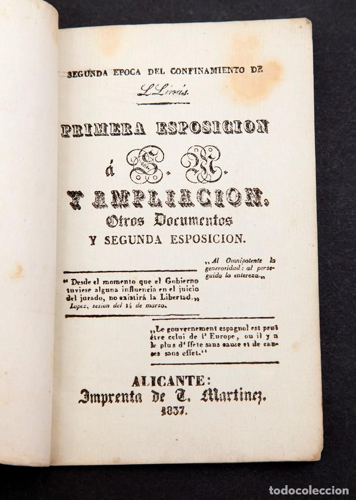 DOBLE DEPORTACION DE LLINÁS - ALICANTE - 1837 - 1ª ED. - MUY RARO (Libros antiguos (hasta 1936), raros y curiosos - Historia Moderna)