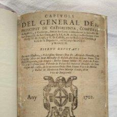 Libros antiguos: AÑO 1702. LIBRO DE LOS ''CAPÍTOLS DEL GENERAL DEL PRINCIPAT DE CATHALUNYA...''. Lote 206369976