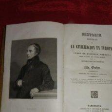 Libros antiguos: HISTORIA GENERAL DE LA CIVILIZACIÓN EN EUROPA. GUIZOT, 1839. Lote 210733149