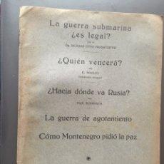 Libros antiguos: LA GUERRA SUBMARINA ¿ES LEGAL? - RICHARD OTTO FRANKFURTER - 16P 21X15. Lote 212754253