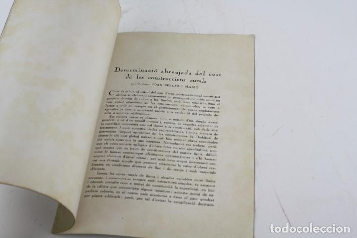 Libros antiguos: Determinació abreujada del cost de les construccions rurals, 1935, Joan Bergós Massó, Barcelona. - Foto 2 - 213230010