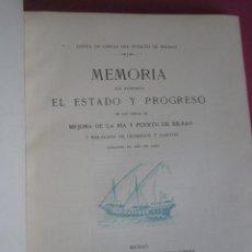 Libros antiguos: MEMORIA QUE MANIFIESTA EL ESTADO DE LAS OBRAS DEL PUERTO DE BILBAO 1929. Lote 213663040