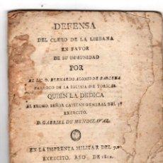 Libros antiguos: DEFENSA DEL CLERO DE LA LIEBANA EN FAVOR DE SU INMUNIDAD. BERNARDO ALONSO DE BARCENA PARROCO TORICES. Lote 214096458