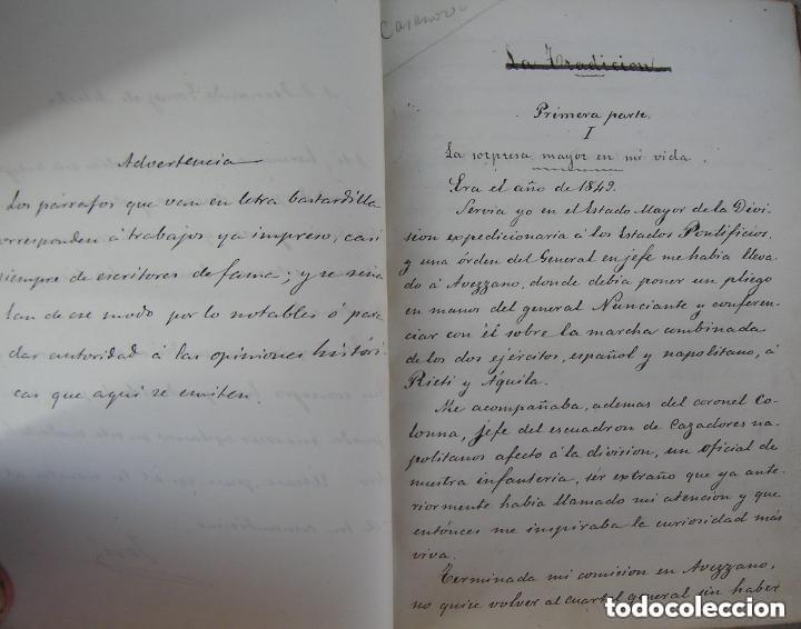 Libros antiguos: Gómez de Arteche J. Manuscrito ,original en tres volúmenes ,Un soldado Español de veinte siglos,1874 - Foto 4 - 217837073