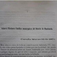 Libros antiguos: LA CORUÑA..COMUNICACION A LOS SRES ELECTORES CATOLICO-MONARQUICOS DEL DISTRITO DE MONDOÑEDO 1871. Lote 219679083