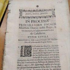 Livros antigos: CASTELSERÁS-ALCAÑIZ (TERUEL) PROCESO JUDICIAL 1703. JUCIO ENTRE LAS DOS POBLACIONES.. Lote 221643033