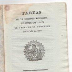 Libros antiguos: TAREAS DE LA SOCIEDAD ECONOMICA DE AMIGOS DEL PAIS DE JEREZ DE LA FRONTERA. 1838. Lote 222035861
