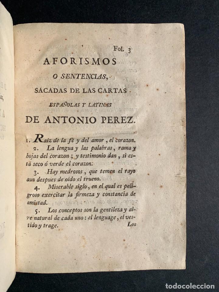 Libros antiguos: 1787 - Aforismos de las relaciones de Antonio Pérez - Politica - Felipe II- Historia de España - Foto 4 - 223999118