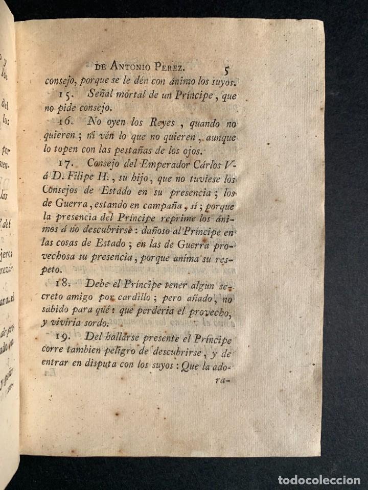 Libros antiguos: 1787 - Aforismos de las relaciones de Antonio Pérez - Politica - Felipe II- Historia de España - Foto 5 - 223999118