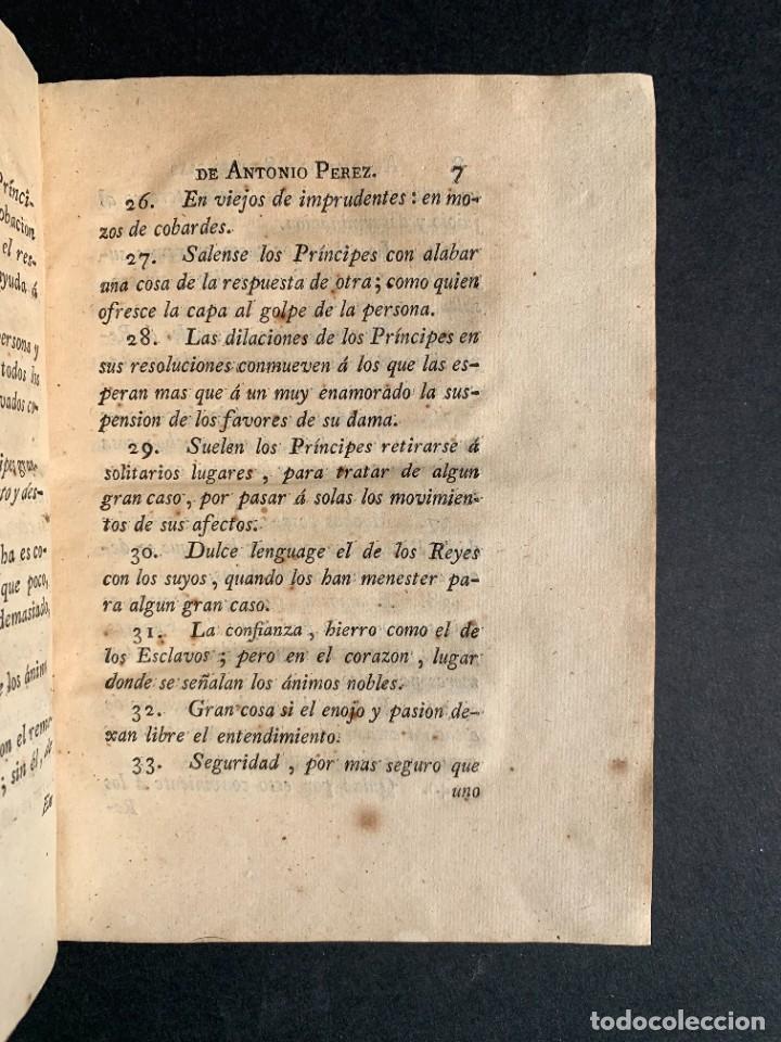 Libros antiguos: 1787 - Aforismos de las relaciones de Antonio Pérez - Politica - Felipe II- Historia de España - Foto 6 - 223999118
