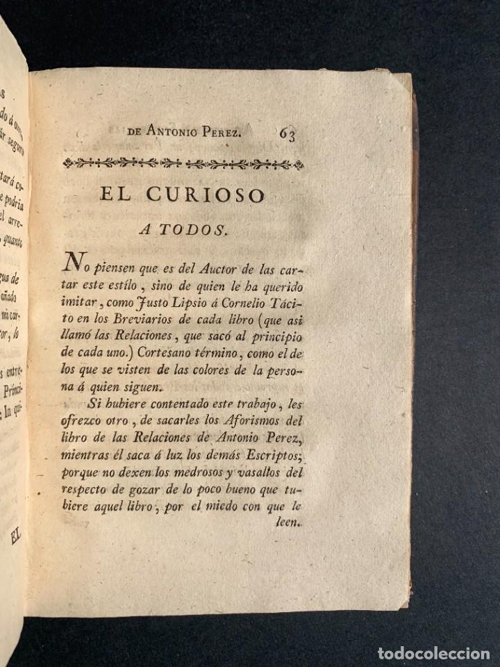 Libros antiguos: 1787 - Aforismos de las relaciones de Antonio Pérez - Politica - Felipe II- Historia de España - Foto 10 - 223999118