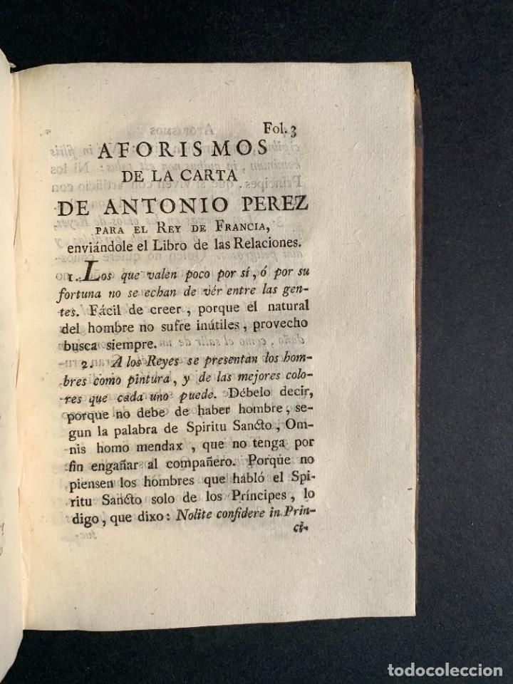Libros antiguos: 1787 - Aforismos de las relaciones de Antonio Pérez - Politica - Felipe II- Historia de España - Foto 14 - 223999118