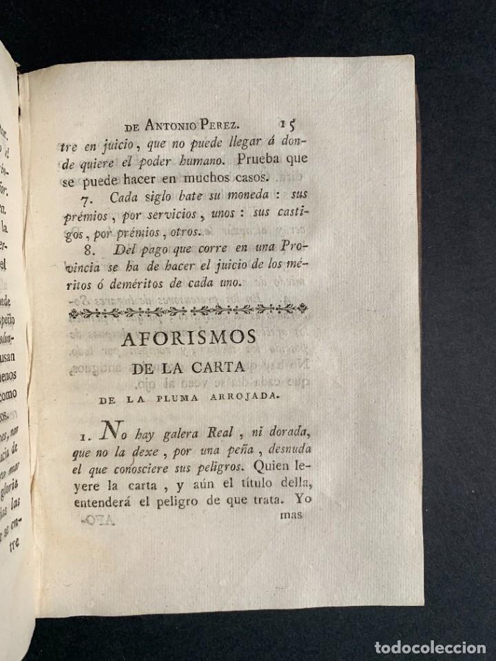Libros antiguos: 1787 - Aforismos de las relaciones de Antonio Pérez - Politica - Felipe II- Historia de España - Foto 15 - 223999118
