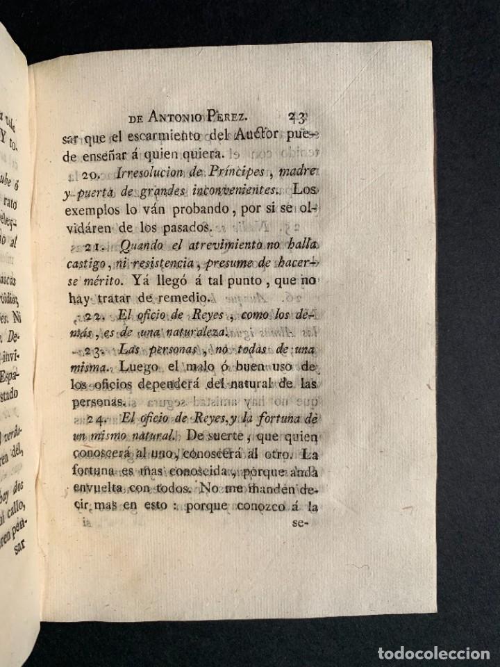 Libros antiguos: 1787 - Aforismos de las relaciones de Antonio Pérez - Politica - Felipe II- Historia de España - Foto 16 - 223999118