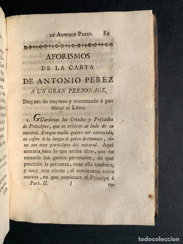 Libros antiguos: 1787 - Aforismos de las relaciones de Antonio Pérez - Politica - Felipe II- Historia de España - Foto 17 - 223999118