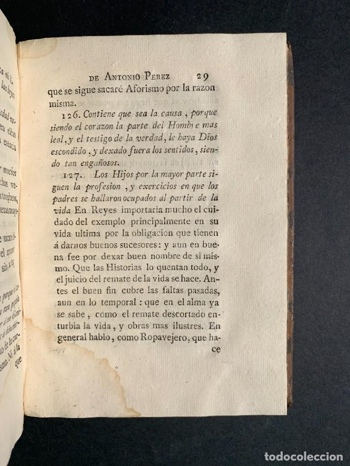 Libros antiguos: 1787 - Aforismos de las relaciones de Antonio Pérez - Politica - Felipe II- Historia de España - Foto 20 - 223999118
