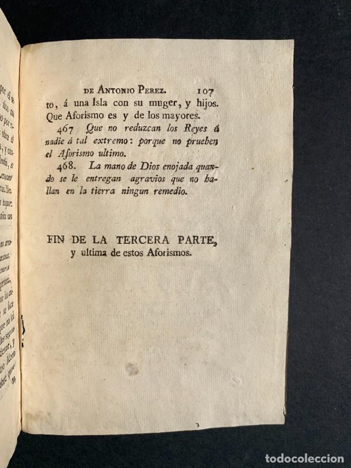 Libros antiguos: 1787 - Aforismos de las relaciones de Antonio Pérez - Politica - Felipe II- Historia de España - Foto 21 - 223999118