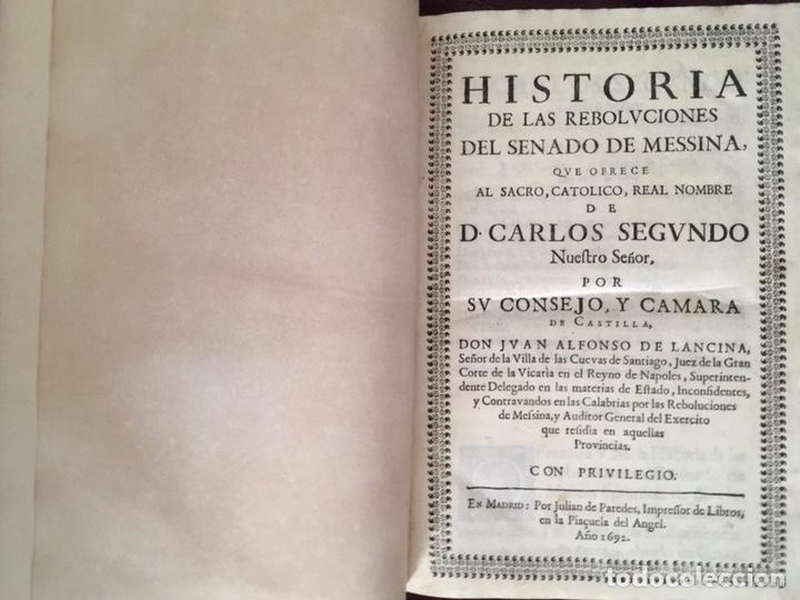Libros antiguos: Historia de las rebolvciOnes del senado de messina Don Juan Alfonso de Lancina - Foto 5 - 224032905