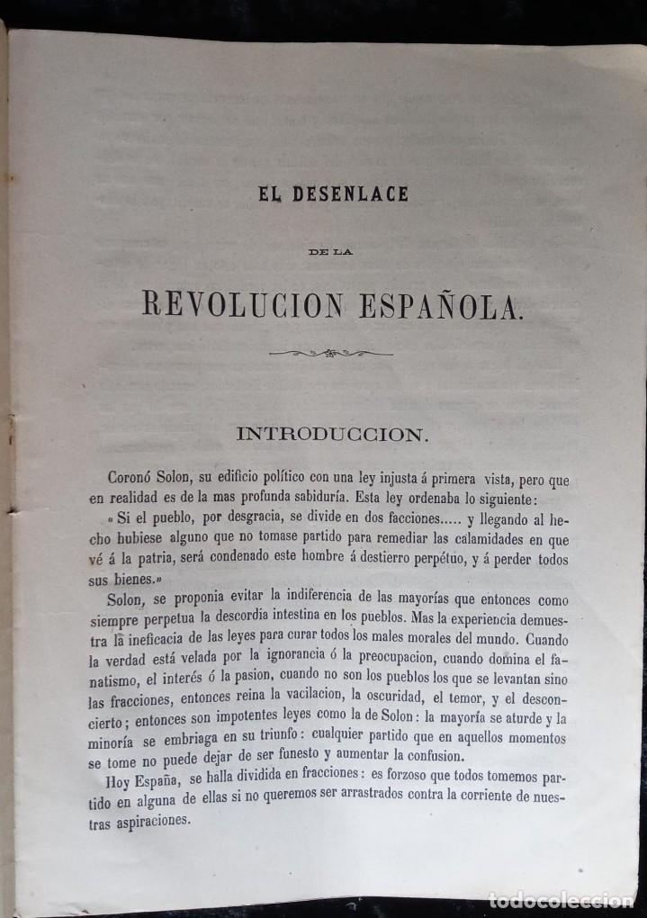 Libros antiguos: EL DESENLACE DE LA REVOLUCIÓN ESPAÑOLA - LUIS MARIA DE LLAUDER Y DE DALMASES - 1869 - FIRMA AUTOR - Foto 3 - 224565040