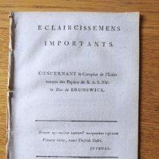 Libros antiguos: ECLAIRCISSEMENS IMPORTANT CONCERNANT LE COMPLOT DE L'ENLEVEMENT DEL PAPIERS. AIX LA CHAPELLE, 1786. Lote 232273140