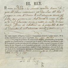 Libros antiguos: AÑO 1824 - FIRMA REAL - FERNANDO VII - ALFEREZ DE CABALLERIA - MIGUEL DE IBARROLA -SECRETARIO GUERRA. Lote 233550775