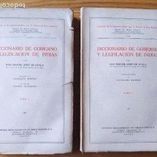 Libros antiguos: DICCIONARIO DE GOBIERNO Y LEGISLACION DE INDIAS, MANUEL JOSEF DE AYALA, ED. IBERO-AMERICANA, 1929. Lote 233700185