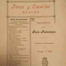 Libros antiguos: GUÍA PALACIANA TOROS Y CACERIAS REALES CAZA. Lote 240219555