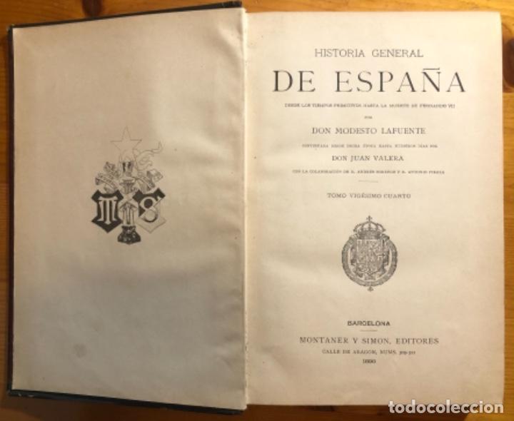 Libros antiguos: HISTORIA DE ESPAÑA- MODESTO LAFUENTE- ISABEL II- AMADEO- PRIM- GUERRAS CARLISTAS- 1890 - Foto 2 - 253263785