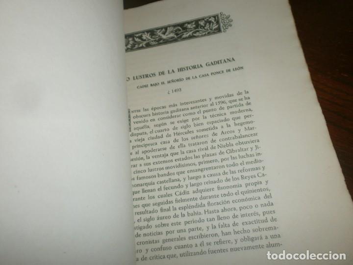 Libros antiguos: Cinco lustros de la Historia Gaditana Cádiz bajo el poderio de la casa Ponce de león 1945 Sevilla - Foto 3 - 254793655