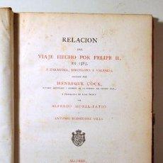 Livros antigos: COCK, HENRIQUE - RELACIÓN DEL VIAJE DE FELIPE II A ZARAGOZA, BARCELONA Y VALENCIA - MADRID 1876. Lote 261563785