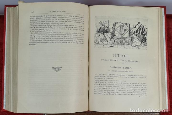 Libros antiguos: LOS FUEROS DE CATALUÑA. JOSE COROLEU Y JOSE PELLA. IMP. LUIS TASSO. 1878. - Foto 3 - 263237325