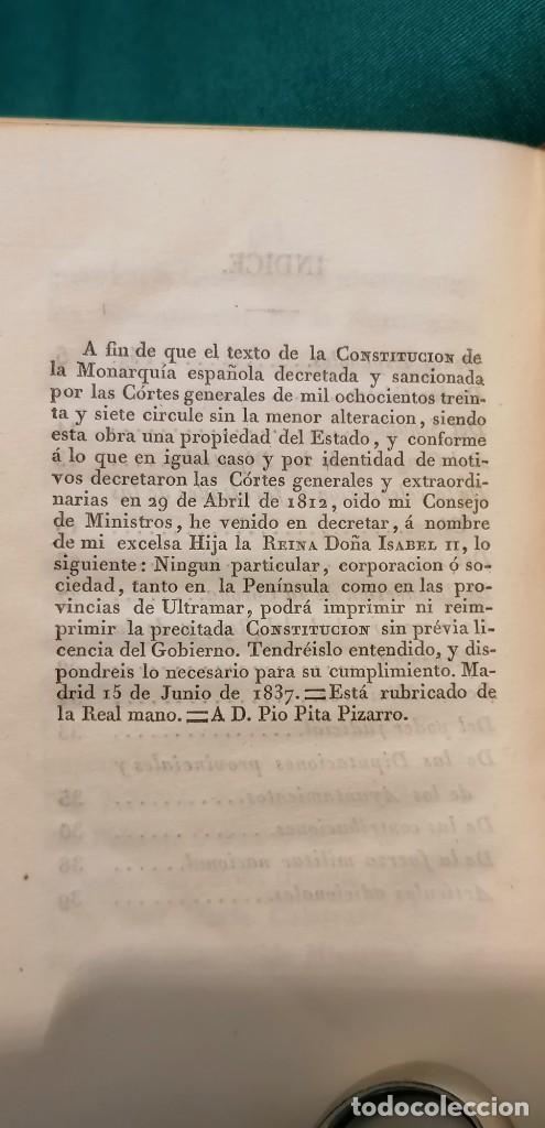 Libros antiguos: LIBRO CONSTITUCIÓN DE LA MONARQUÍA ESPAÑOLA, PROMULGADA EN MADRID...1837 - Foto 6 - 265488544