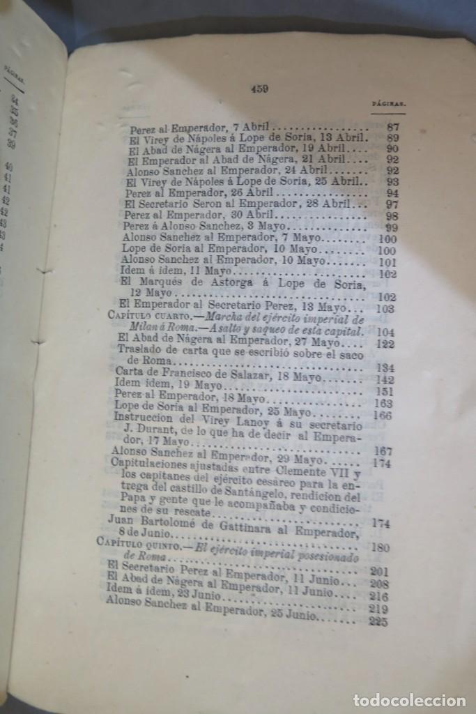 Libros antiguos: 1875.- MEMORIAS PARA LA HISTORIA DEL ASALTO Y SAQUEO DE ROMA EN 1527 POR EL EJERCITO IMPERIAL - Foto 5 - 278508513