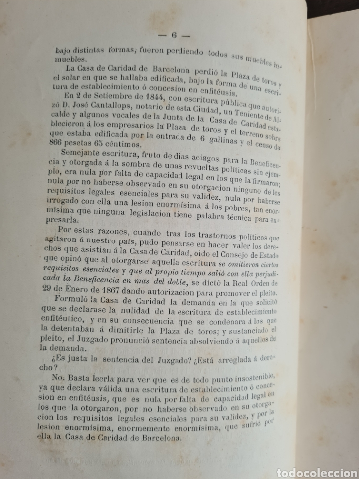 Libros antiguos: Antigua Demostración Derecho Casa Provincial Caridad BCN Reivindicar Plaza Toros Barceloneta 1878 - Foto 14 - 287974403