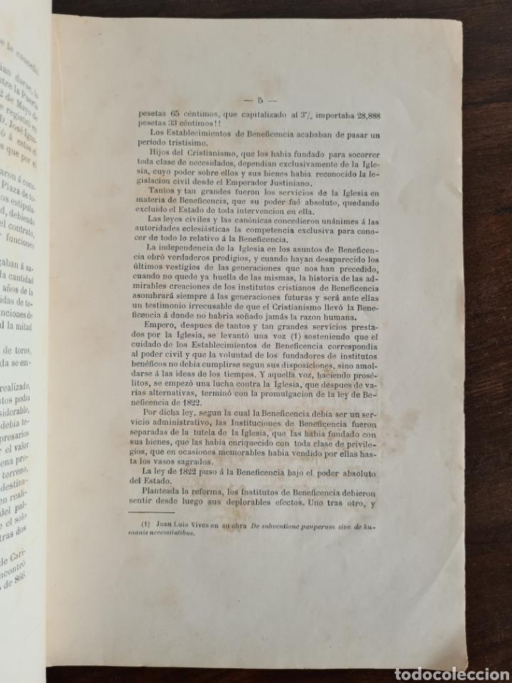 Libros antiguos: Antigua Demostración Derecho Casa Provincial Caridad BCN Reivindicar Plaza Toros Barceloneta 1878 - Foto 13 - 287974403