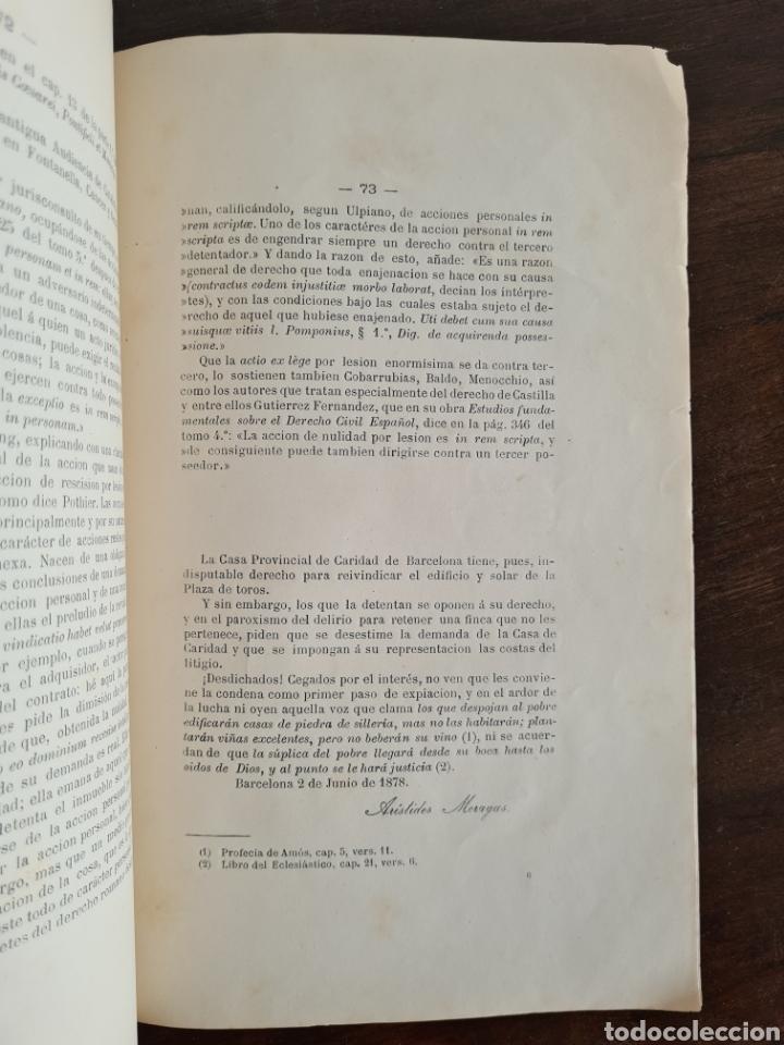 Libros antiguos: Antigua Demostración Derecho Casa Provincial Caridad BCN Reivindicar Plaza Toros Barceloneta 1878 - Foto 27 - 287974403