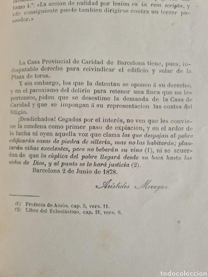 Libros antiguos: Antigua Demostración Derecho Casa Provincial Caridad BCN Reivindicar Plaza Toros Barceloneta 1878 - Foto 28 - 287974403
