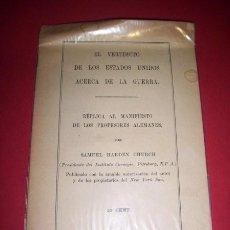 Libros antiguos: CHURCH, SAMUEL HARDEN - EL VEREDICTO DE LOS ESTADOS UNIDOS ACERCA DE LA GUERRA. Lote 34425446