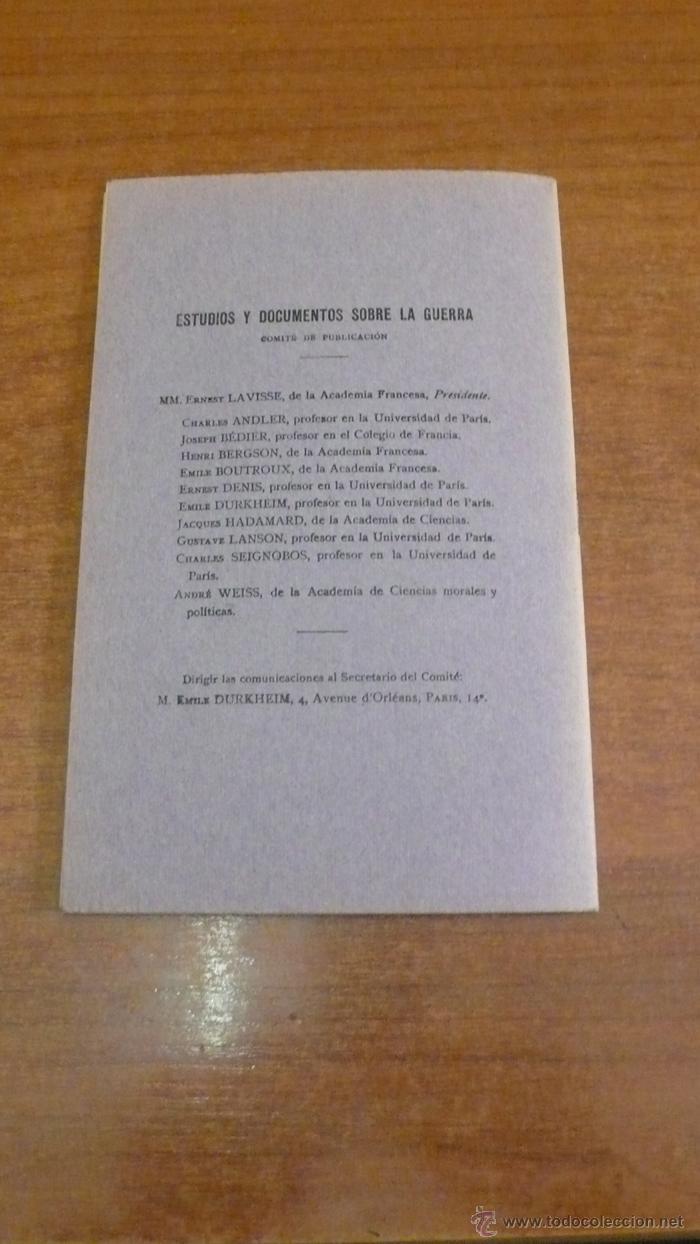 Libros antiguos: LOS CRÍMENES ALEMANES DEMOSTRADOS POR TESTIMONIOS ALEMANES. BÉDIER, JOSEPH. 1915 - Foto 4 - 42324660