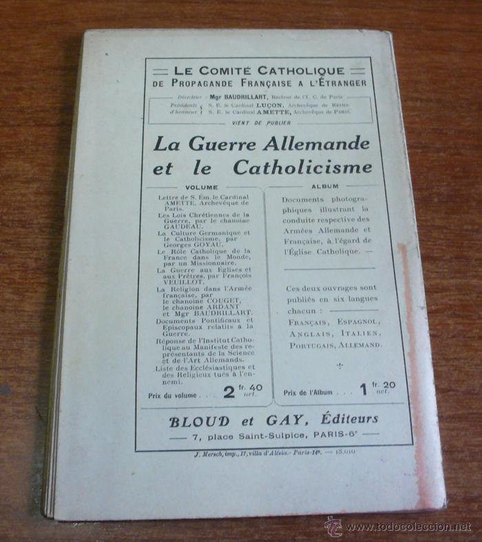 Libros antiguos: LES CATHOLIQUES ALLEMANDS. JADIS ET AJOURDHUI. QUELQUES PRÉCÉDENTS AU CAS DU CARDINAL MERCIER - Foto 2 - 42609465