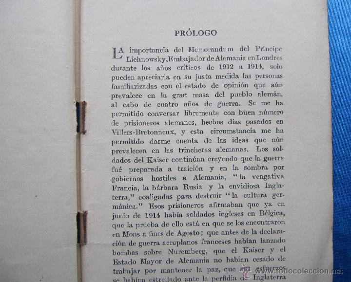 Libros antiguos: MI GESTION EN LONDRES 1912 - 14. POR EL PRINCIPE LICHNOWSKY. SOCIEDAD EDITORIAL CASELL, LONDRES 1918 - Foto 3 - 48536837
