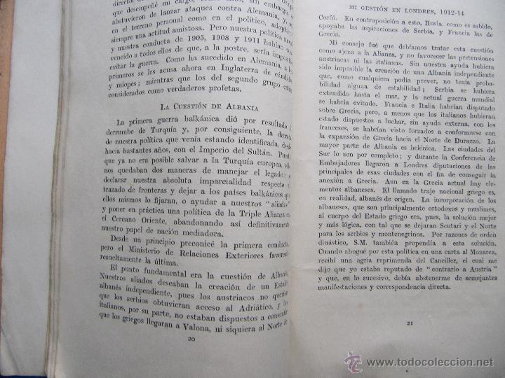 Libros antiguos: MI GESTION EN LONDRES 1912 - 14. POR EL PRINCIPE LICHNOWSKY. SOCIEDAD EDITORIAL CASELL, LONDRES 1918 - Foto 4 - 48536837